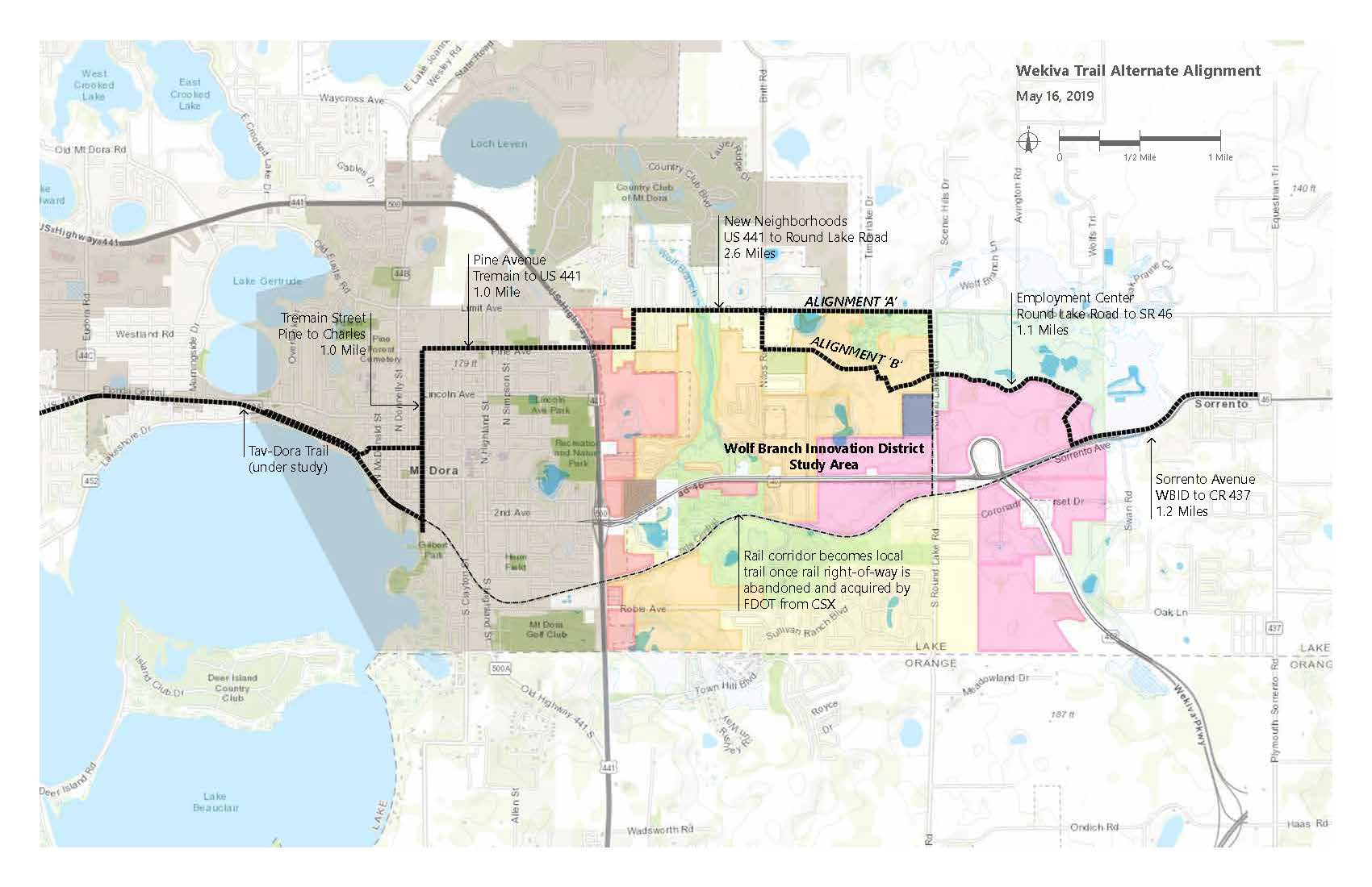 Wolf Branch Innovation District Weikva Trail Alt Alignment Map as of 2019-05-16