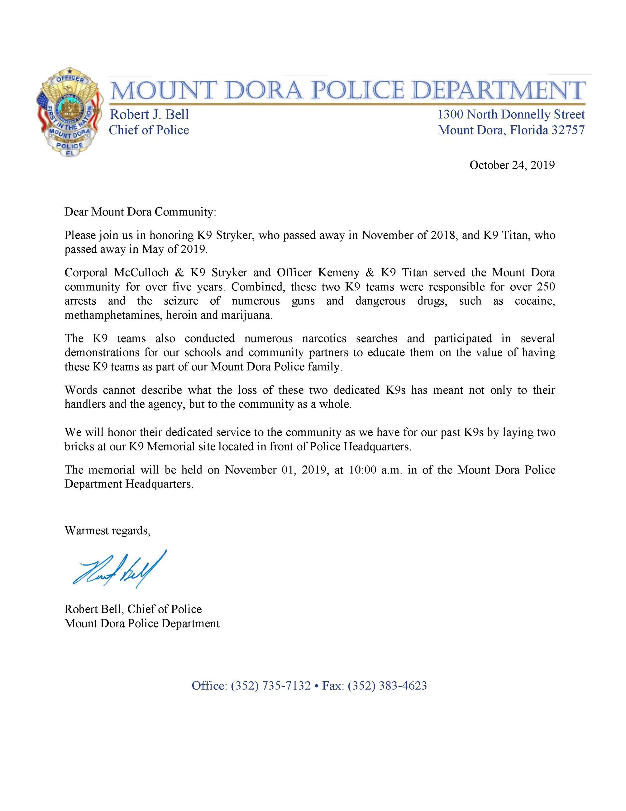 K9 memorial letter to citizens